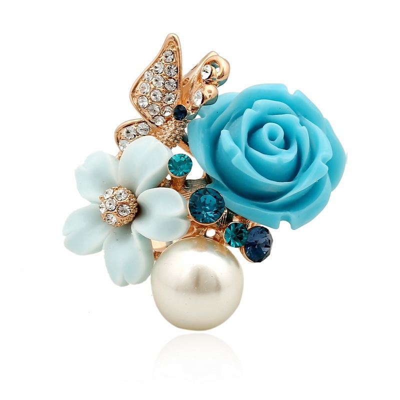 New Arrival Big Elegant Crystal Butterfly Ring Female Imitation Pearl Rose Flower Ring For Engagement wholesale