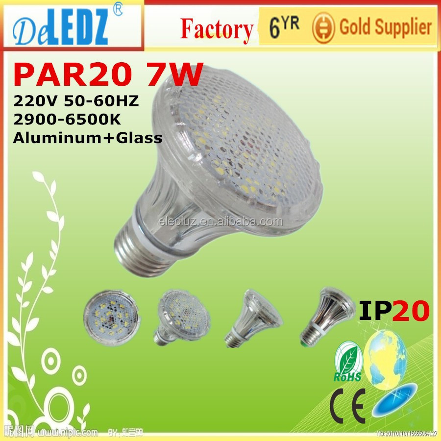 hot sale par20 7w aluminum glass led <strong>spotlight</strong> 2 years warranty