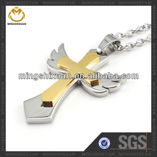 Angel's wing cross 2014 new design pendant mexican gold jewelry