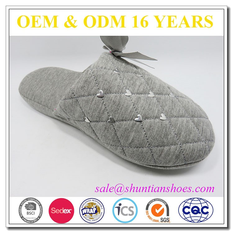 2016 New design lovely diamond jersey quilted slipper with ribbon bow,high quality slippers sandals