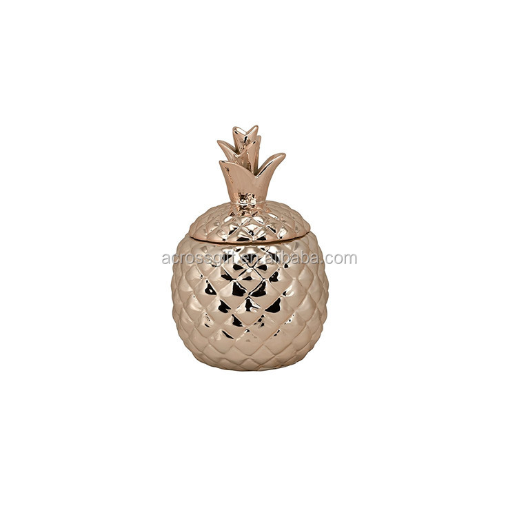 Hot Sale Handmade Painted Decorative Ceramic Pineapple Small Cookie Jar