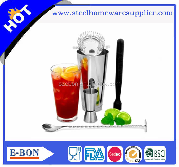 Hot selling stainless steel boston cocktail shaker set