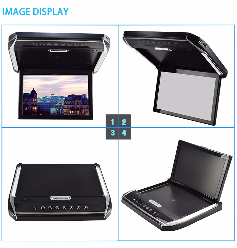factory flip down 12.1 inch car roof monitor
