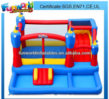 2015 Cheap inflatable jumping castles with water slide and pool,inflatable slide combo