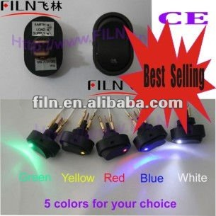 2012 new style DC 12V 30A ,12mm install hole, 5 colors LED key switch for car