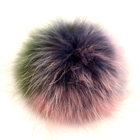 Myfur Custom Rainbow Colorful Raccoon Fur Pom Pom Attach Hat