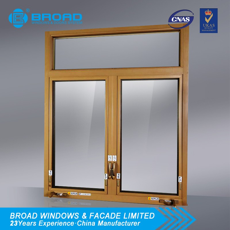 Aluminum Casement Double Glazing Outward Window With Mesh