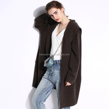2018 winter fancy oversize 100% cashmere coat knitted long hooded cardigan for ladies