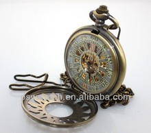 Chinese mechanical movement skeleton pocket watch