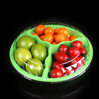 disposable PET 3 compartment plastic food display tray for Fruit Packaging