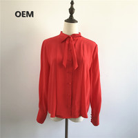Button up long sleeve silk shirt with bow tie for women