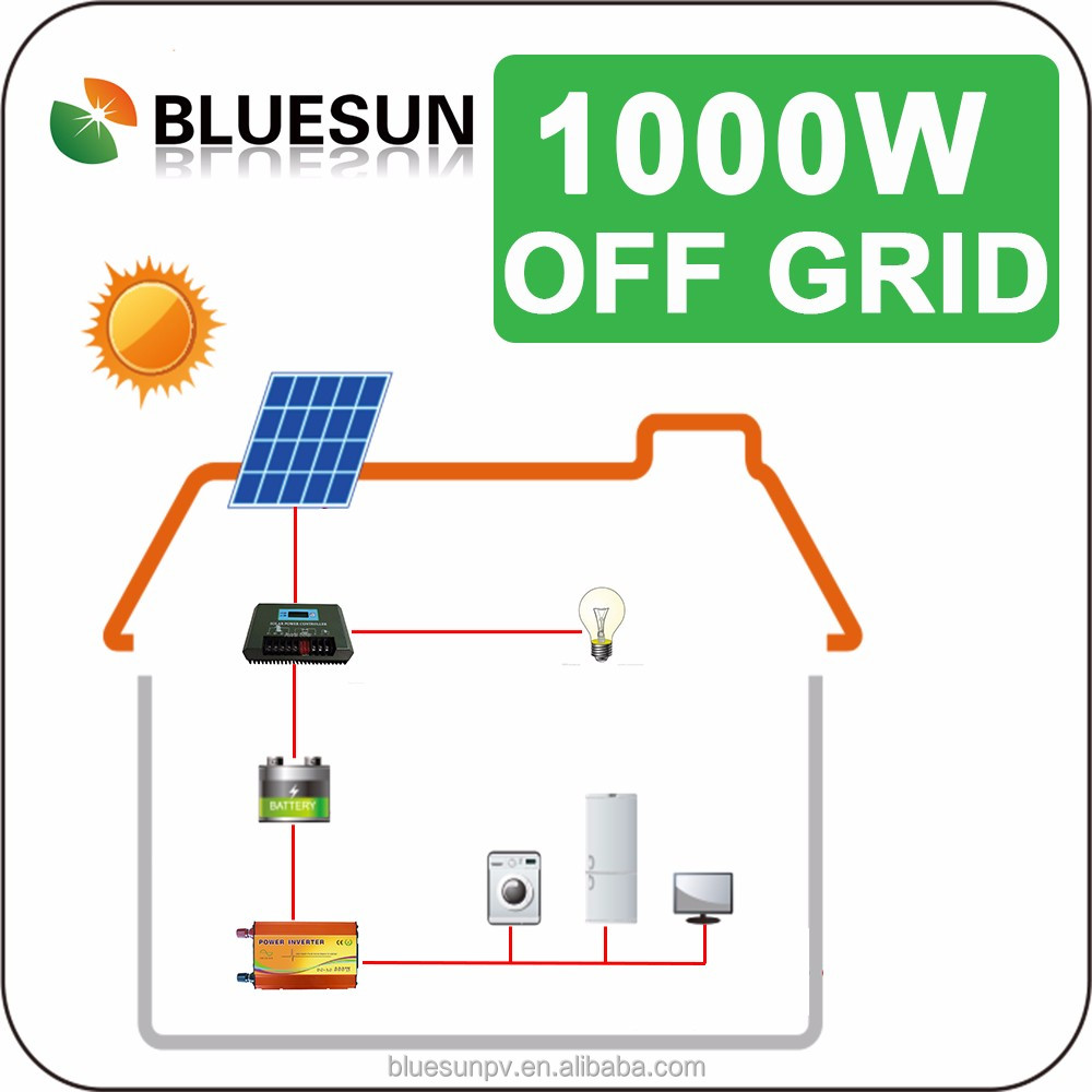 Bluesun 1000w solar panel system with 1KW inverter for 12V battery