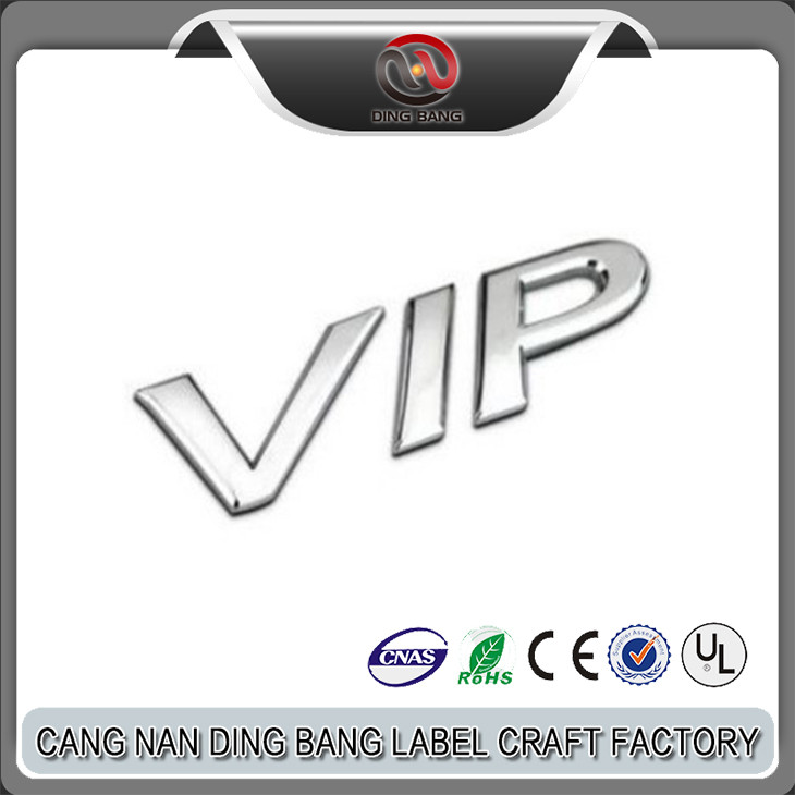 Promotional Items Cheap Custom 3M Self Adhesive Chrome VIP Letter Logo Badge Metal Car Emblem