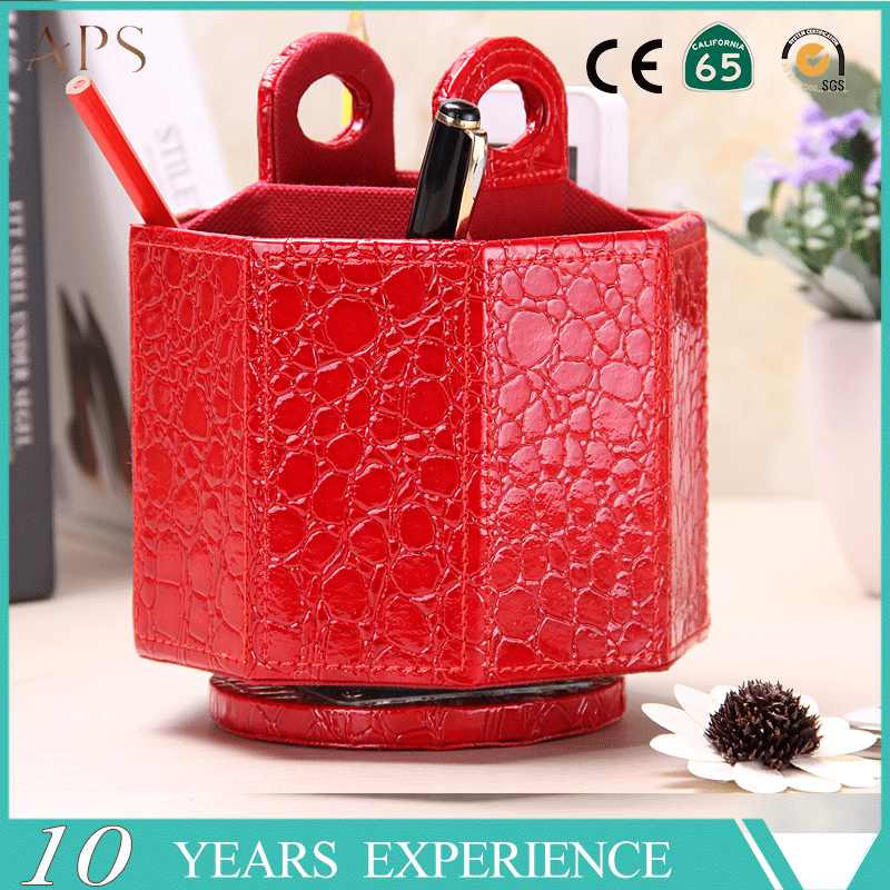 PU Leather 360 Degrees Rotatable Octagon Shape pen hoder/organizer/Media Storage Container