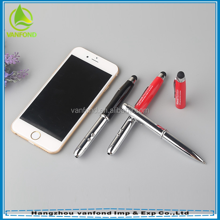 Aluminum barrel 4 in 1 stylus pen with led torch light laser point