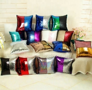 Latest pattern home textiles two side colors sofa decoration cushion sequin pillow covers