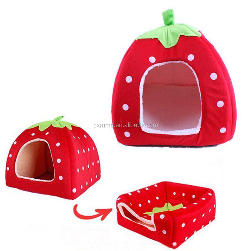 hot selling plush Strawberry cat bed dog bed