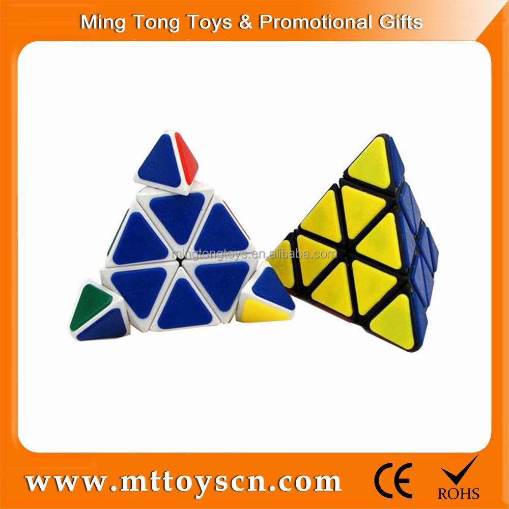 Classical logo printing ABS plastic 3x3 funny cube game toy iq pyramid puzzle