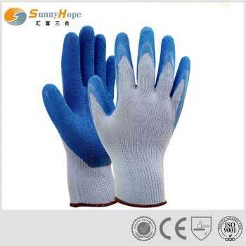 sales blue latex coated palm gloves
