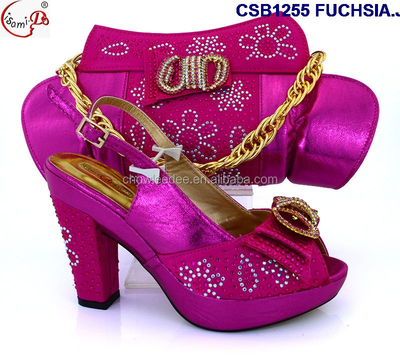 CSB1255 FUCHSIA Shoes and bag 2016 beautiful crystal and pearls high heel shoes and bag in stocl