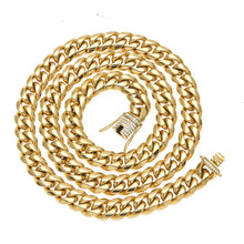 Hot Selling 14mm Gold Silver Plated Stainless Steel Cuban Link Chain <strong>Necklace</strong> Men's HipHop Jewelry