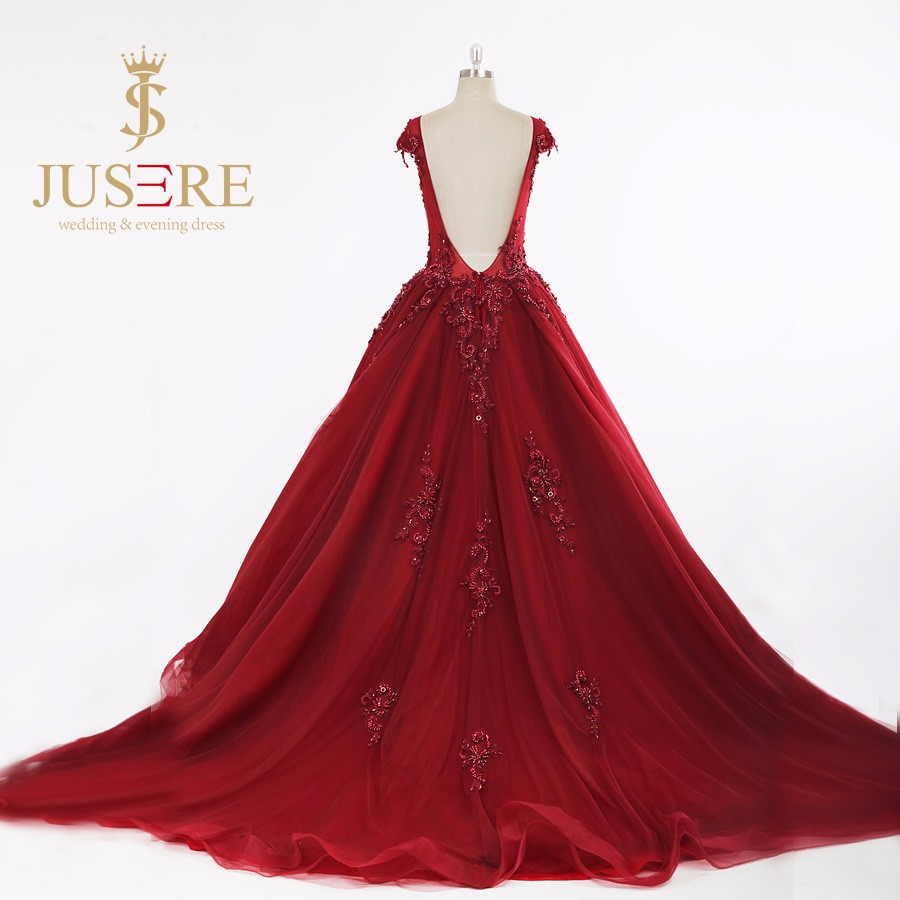Puffy Crystals Cap Sleeves Red Prom Dresses V-neck 2017 Ball gowns prom dress long Rhinestones Red Carpet Celebrity prom gowns