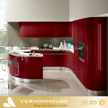 2017 Vermont Red Color Lacquer Painting Modern High Gloss Kitchen Cabinet