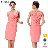 2015 Latest Sexy Ladies Women Back Cowl Neck Sleeveless Casual Summer Dress
