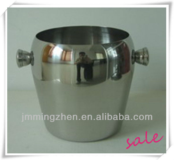 1.0L small stainless steel ice bucket with handle