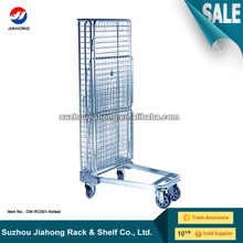 JH Folding Transport Roll Container, Cage, Warehouse Trolley, Storage Box, Wire Metal Mesh Logistics Cart