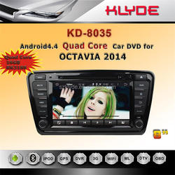 double din 8 inch 4 core HD WIFI DAB+ 16GB android 2 din car dvd gps for skoda octavia