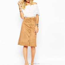 Top design skirts and blouse A-line faux suede fabric midi skirt HSS3398