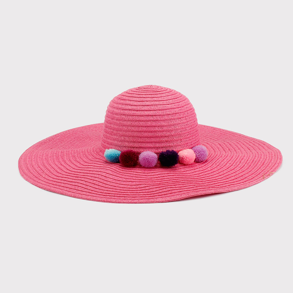 100% Paper Straw Hat Pink Wholesale Summer Fashion Ladies Floppy Hat