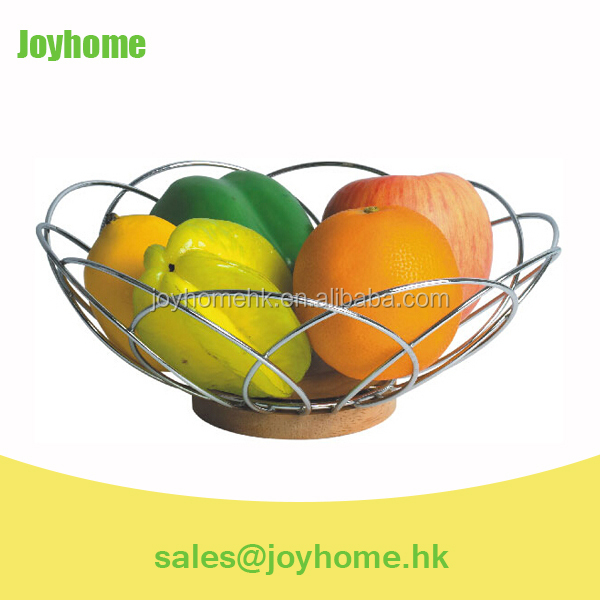 metal wire fruit basket with wooden base