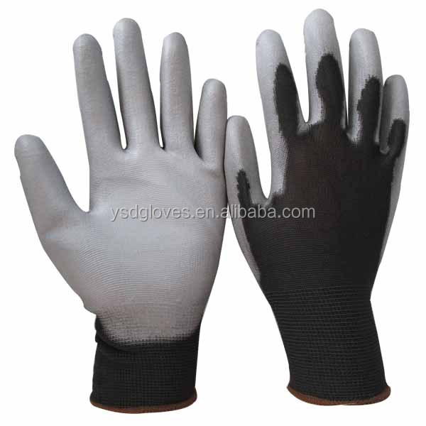 Black PU Coated Safety Glove for Light Engineering Work