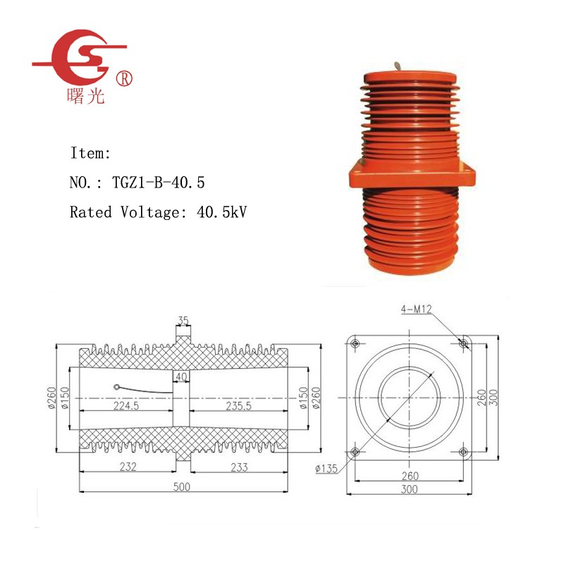 40.5kV Metal-clad Switchgear Wall Through Bushing Insulator TGZ1-B-40.5