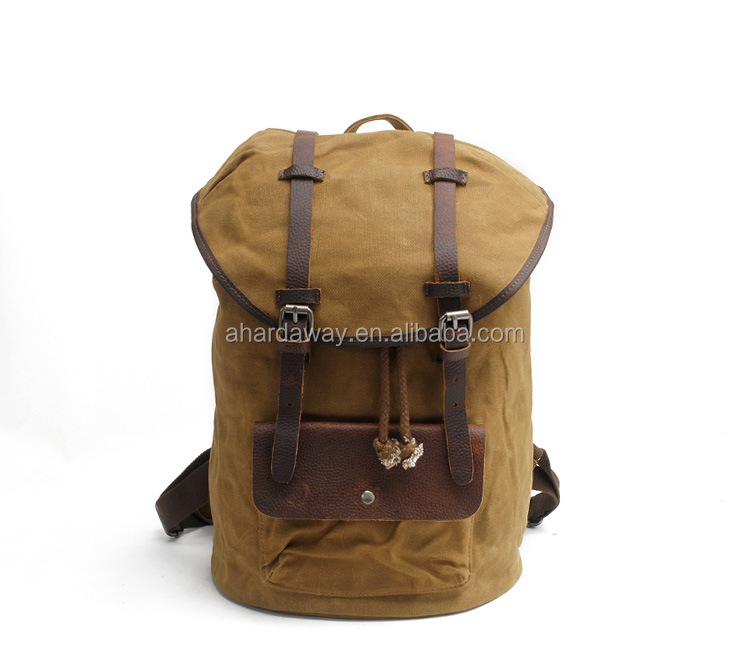 2017 vintage waxed canvas school rucksack , waterproof blank canvas backpack