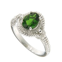 Natural Chrome Diopside 6*8 Oval Ring in Silver new fashion jewelry