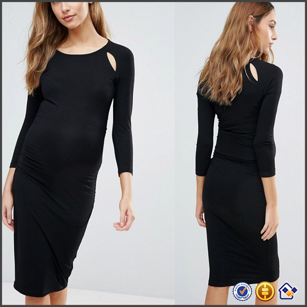KY Scoop neck Keyhole shoulder cut-outs Ruched sides Close-cut body-conscious fit Bodycon Dress With Keyhole maternity gown