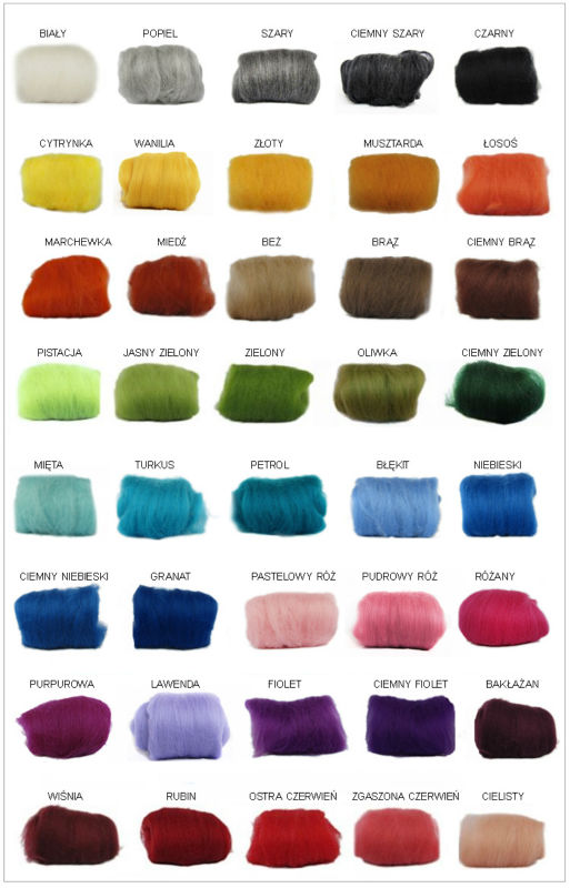 100% wool top, dyed, merino wool, 18-21mic,