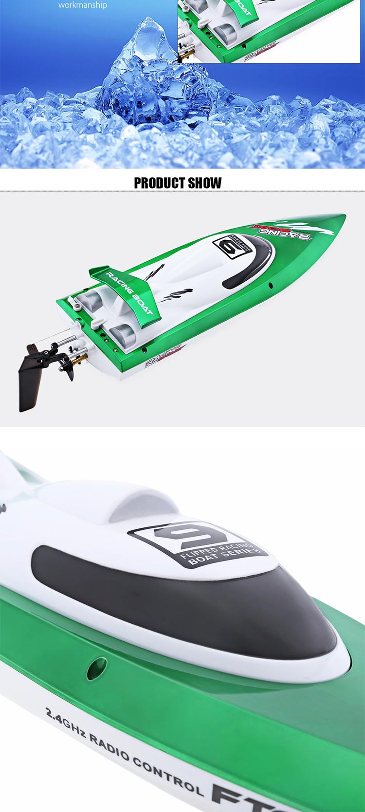 2.4GHz High Speed Remote Control Electric Speed Boat For Sale
