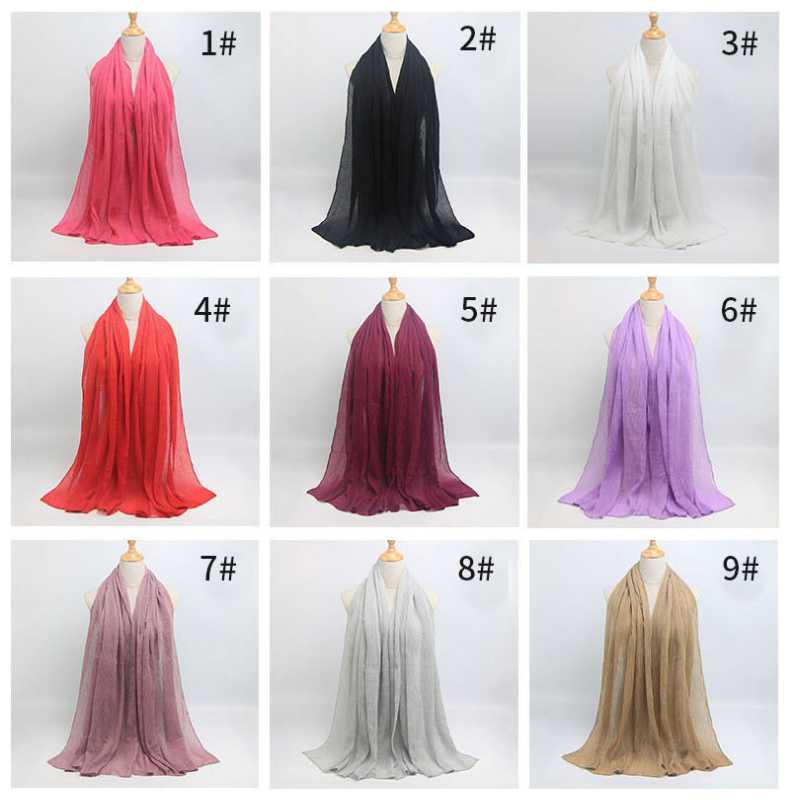 2018 Newest Design Soft Cotton Plain Crushed Wrinkle Prime Crimp Hijab Premium Big Size Fold Scarves Solid Color Long Scarf