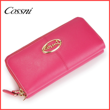 top quality genuine leather money case with double zipper wallet