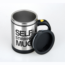 creative hot-selling 400ml stainless steel self-stirring coffee mug with handle with steel innerwith steel inner