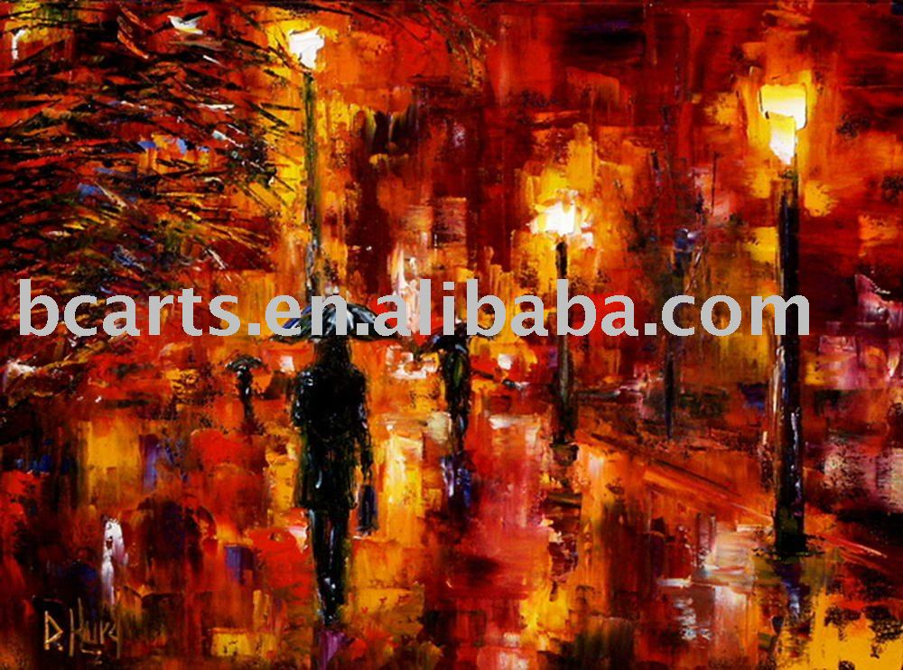 Impressionist paris street night Scene knife oil painting