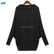 Europe Womens ladies Batwing Long Sleeve Loose Sweater Cardigan Pullover