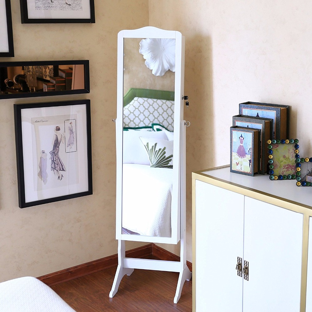 standing large floor full length with drawer mirrored jewelry chest