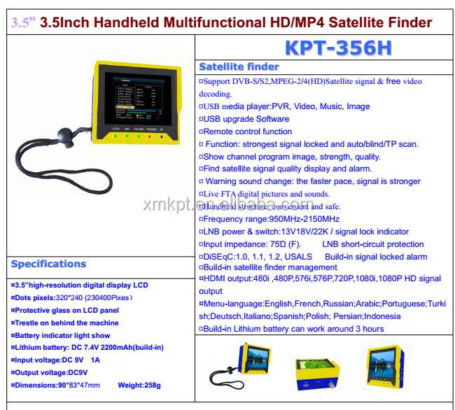 KANGPUT 2017 lastest digital satellite finder output KPT-356H