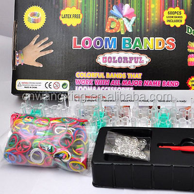 2017 mixed color rubber band and Hot Selling Box Packed Fun Round Rainbow Name Rubber loop Loom Rubber Bands and Bracelet