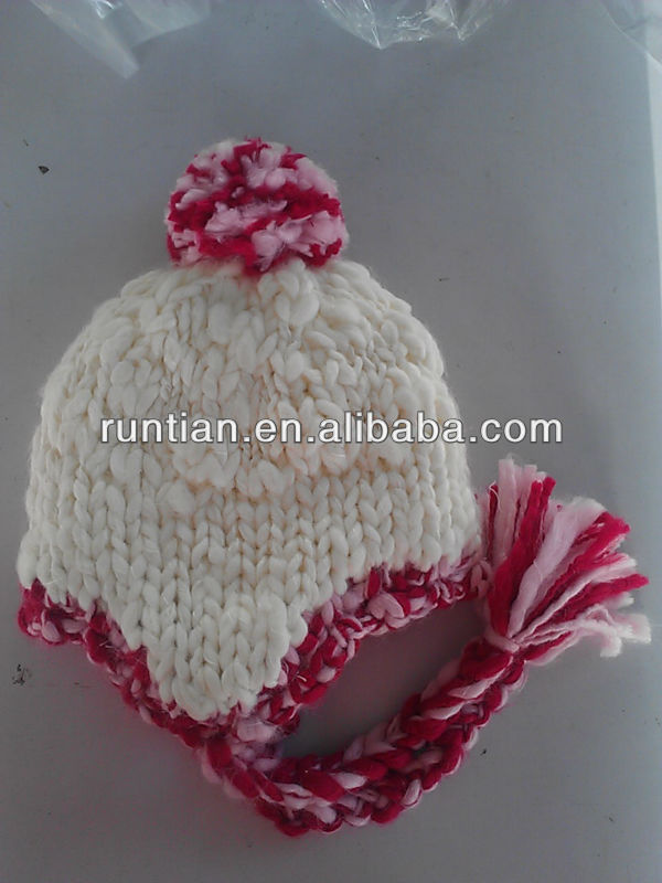 Baby Winter Hat With Earflaps100% Acrylic Knitted Hat With 100% Cotton Fabric Lining